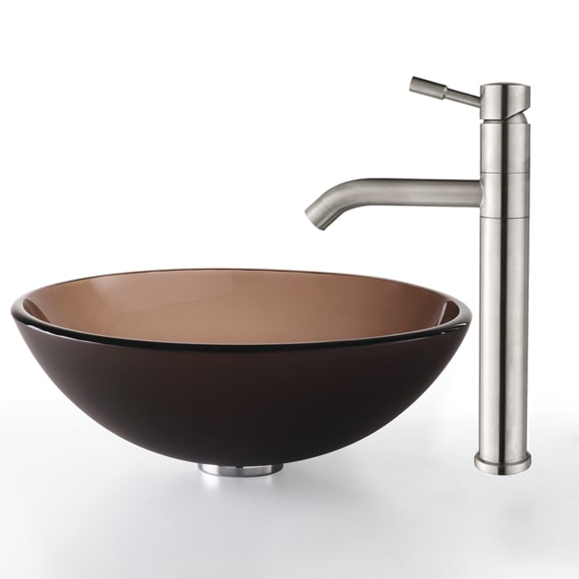 Kraus Frosted Brown Glass Vessel Sink/Steel Faucet