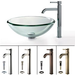 Kraus Clear Glass 19mm Thick Vessel Sink and Ramus Faucet