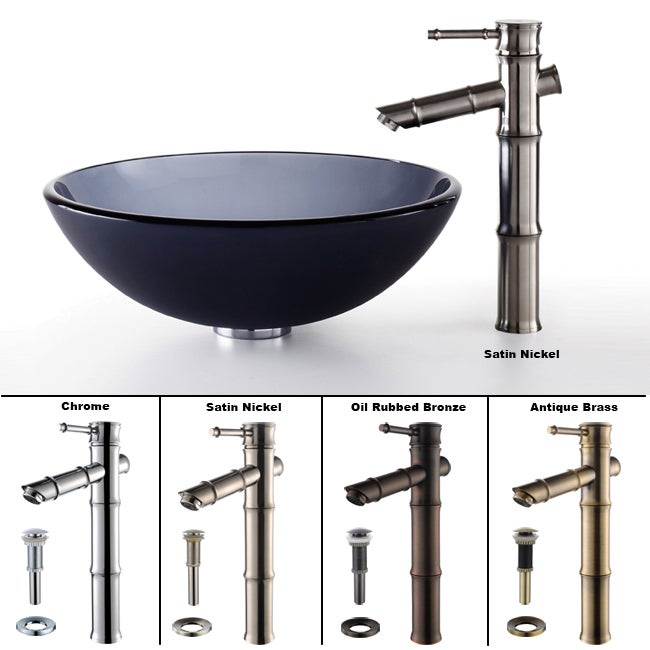 Kraus Black Frosted Glass Vessel Sink/ Bamboo Style Faucet