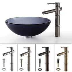 Kraus Black Frosted Glass Vessel Sink/ Bamboo Faucet