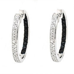 Beverly Hills Charm Silver Inside-out Sapphire Hoop Earrings