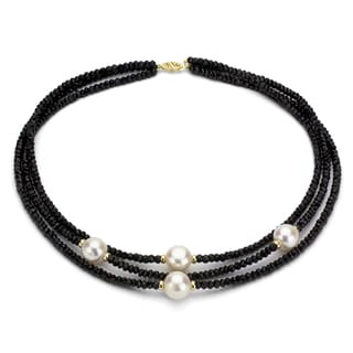 DaVonna 14k Gold Black Onyx and White 12-13mm FW Pearl Necklace with Gift Box