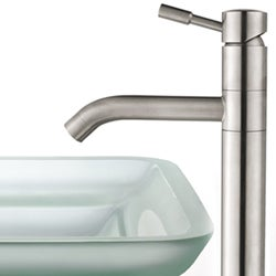 Kraus Oceania Frosted Glass Sink/ Aldo Steel Faucet