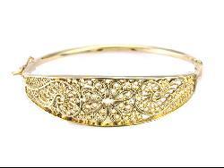 14k Gold Overlay Ornate Spanish Hinged Bangle Bracelet (Mexico)