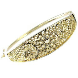 14k Gold Overlay Ornate Spanish Hinged Bangle Bracelet (Mexico)
