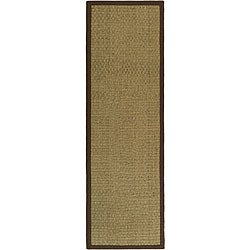 Hand-woven Sisal Natural/ Brown Seagrass Runner (2'6 x 12')