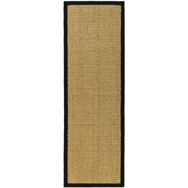 "Safavieh Casual Handwoven Sisal Natural/Black Seagrass Runner (2'6"" x 8')"