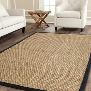 Safavieh Casual Natural Fiber Natural and Black Border Seagrass Rug (6' x 9')