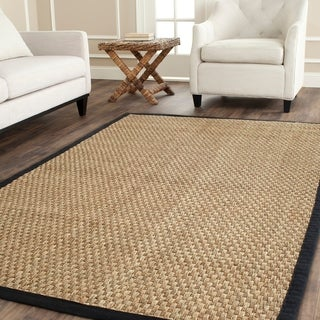 Safavieh Casual Natural Fiber Natural and Black Border Seagrass Rug (9' x 12')