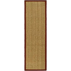 Safavieh Hand-woven Sisal Natural/ Red Seagrass Runner Rug (2'6 x 8')