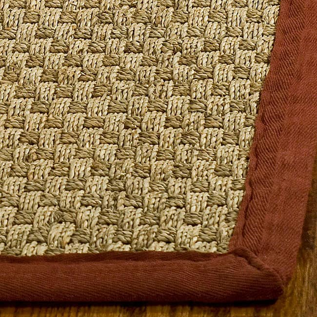 Safavieh Handwoven Sisal Natural/Red Bordered Seagrass Rug (3' x 5')