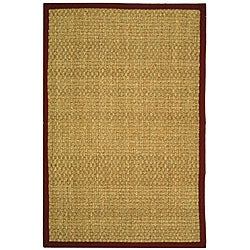 Handwoven Sisal Natural/Red Bordered Seagrass Rug (3' x 5')