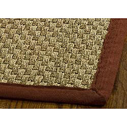 Hand-Woven Sisal Natural/Red Seagrass Area Rug (8' x 10')