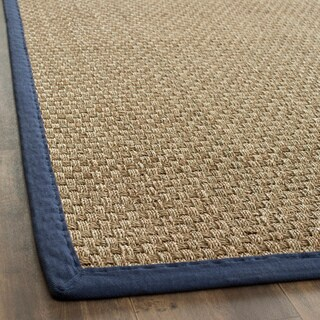 Safavieh Hand-woven Sisal Natural/ Blue Seagrass Runner (2'6 x 12')