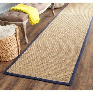 Safavieh Casual Natural Fiber Natural and Blue Border Seagrass Runner (2'6 x 12')