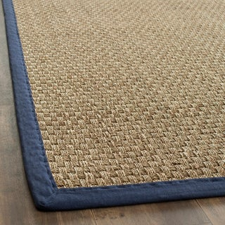 Hand-woven Sisal Natural/ Blue Seagrass Bordered Rug (8' x 10')