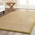 Handwoven Sisal Natural/Olive Seagrass Rug with Fringeless Borders (4' x 6')