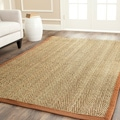 Hand-woven Sisal Natural/ Medium Brown Seagrass Runner (2'6 x 8')