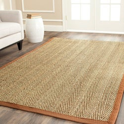 Hand-woven Sisal Natural/ Medium Brown Seagrass Rug (3' x 5')