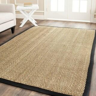 Hand-woven Sisal Natural/ Black Seagrass Runner (2'6 x 8')