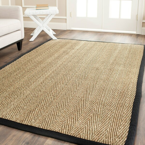 Safavieh Hand-woven Sisal Natural/ Black Seagrass Rug (4' x 6')