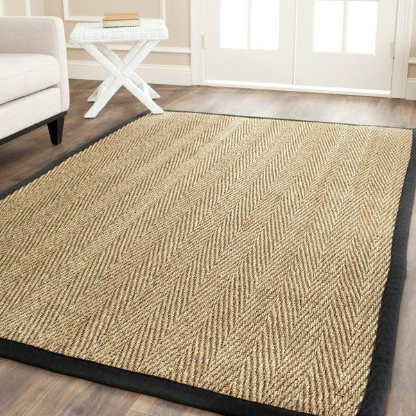 Safavieh Hand-woven Sisal Natural/ Black Seagrass Rug (6' x 9')