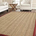 Hand-woven Sisal Natural/ Red Seagrass Rug (3' x 5')