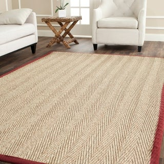Safavieh Herringbone Natural Fiber Natural and Red Border Seagrass Rug (4' x 6')