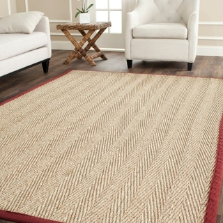 Safavieh Herringbone Natural Fiber Natural and Red Border Seagrass Rug (6' x 9')