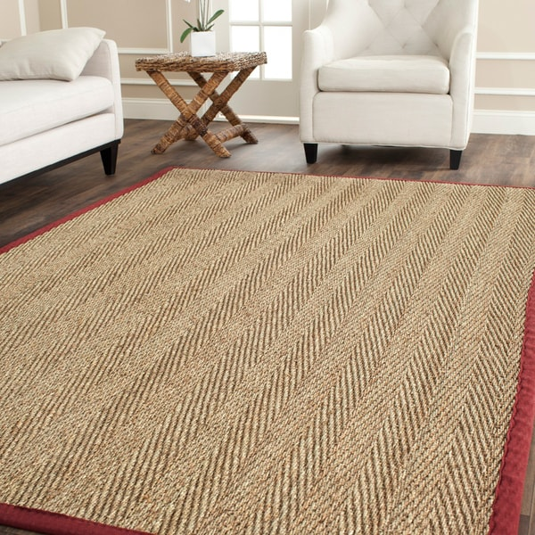 Safavieh Herringbone Natural Fiber Natural and Red Border Seagrass Rug (9' x 12')