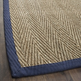 Hand-woven Sisal Natural/ Blue Seagrass Runner (2'6 x 8')