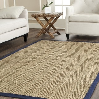 Safavieh Herringbone Natural Fiber Natural and Blue Border Seagrass Rug (6' x 9')