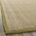 Hand-woven Sisal Natural/ Olive Seagrass Runner (2'6 x 8')