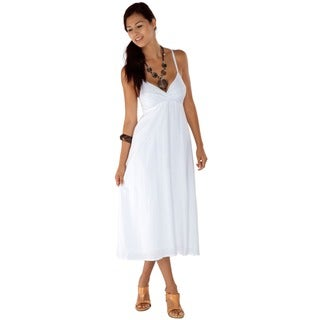 Embroidered/ Sequined Crossover Long White Dress (Indonesia)