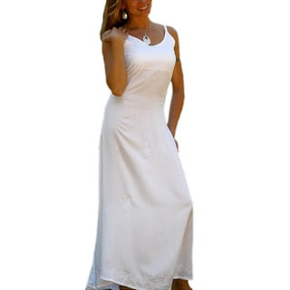 Women's Embroidered/ Sequined White Lined Long Dress (Indonesia)