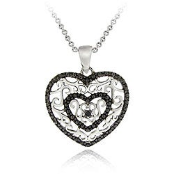 DB Designs Sterling Silver Black Diamond Accent Filigree Heart Necklace