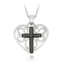 DB Designs Sterling Silver Black Diamond Accent Heart Cross Necklace