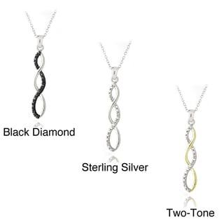 DB Designs Sterling Silver Black, Silver or Two Tone Diamond Accent Infinity Necklace