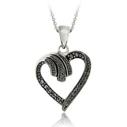 DB Designs Sterling Silver Black Diamond Open Heart Necklace