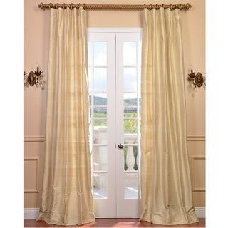Signature Beige Textured Silk 84-inch Curtain Panel
