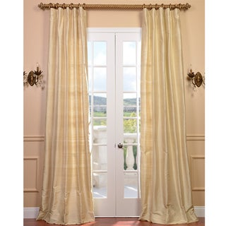 Signature Beige Textured Silk 96-inch Curtain Panel