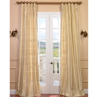 Signature Beige Textured Silk 108-inch Curtain Panel
