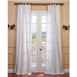 Signature Lily White Textured Silk 96-inch Curtain Panel
