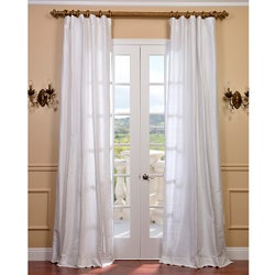 Signature Lily White Textured Silk 120-inch Curtain Panel