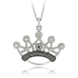 DB Designs Sterling Silver Black Diamond Accent Crown Necklace