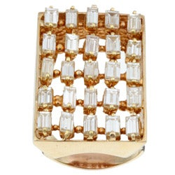 14k Gold 4ct TDW Diamond Estate Cocktail Ring (J, SI1) (Size 6.75)