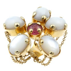 18k Gold Moonstone/ Tourmaline Flower Estate Ring (Size 7)