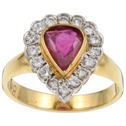18k Gold Ruby and 1/2ct TDW Diamond Estate Ring (H, VS2) (Size 6.5)