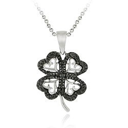 DB Designs Sterling Silver Black Diamond Accent Four-leaf Clover Necklace