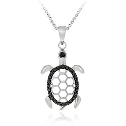 DB Designs Sterling Silver Black Diamond Accent Turtle Necklace